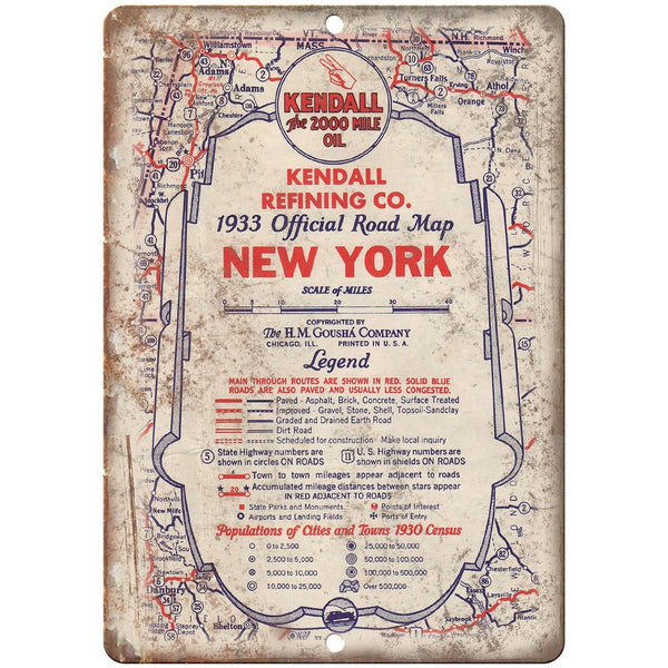 "1933 Kendall Oil Refining Company Road Map 10"" x 7"" Reproduction Metal Sign A138"