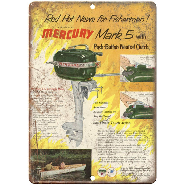 "Mercury Mark 5 Outboards 10"" x 7"" reproduction metal sign"