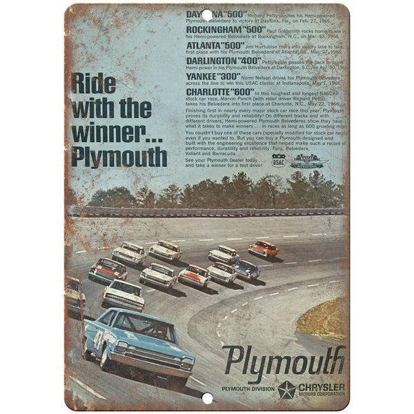 "Plymouth Daytona 500, Rockingham 500, car races 10"" x 7"" Retro Metal Sign"
