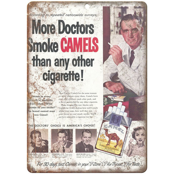 "Camel Cigarette ad more doctors smoke camels 10"" x 7"" reproduction metal sign"
