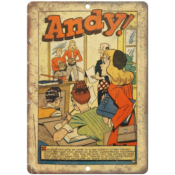 "Andy Vintage Golden Age Comic Strip 10"" X 7"" Reproduction Metal Sign J478"
