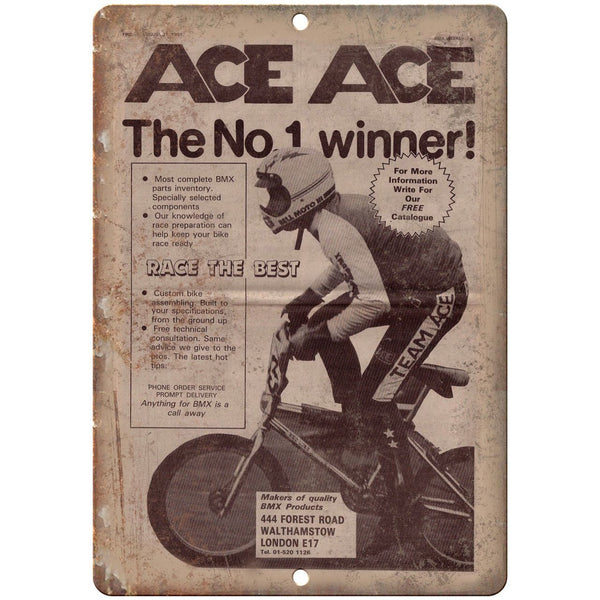 "1981 ACE BMX Vintage Racing Bicycle Ad 10"" x 7"" Reproduction Metal Sign B485"