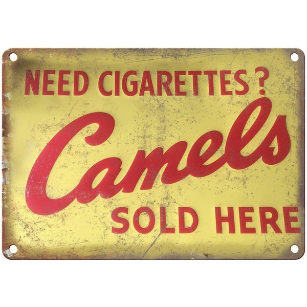 "Porcelain Look Camel Cigarettes Sold Here 10"" x 7"" Reproduction Metal Sign"