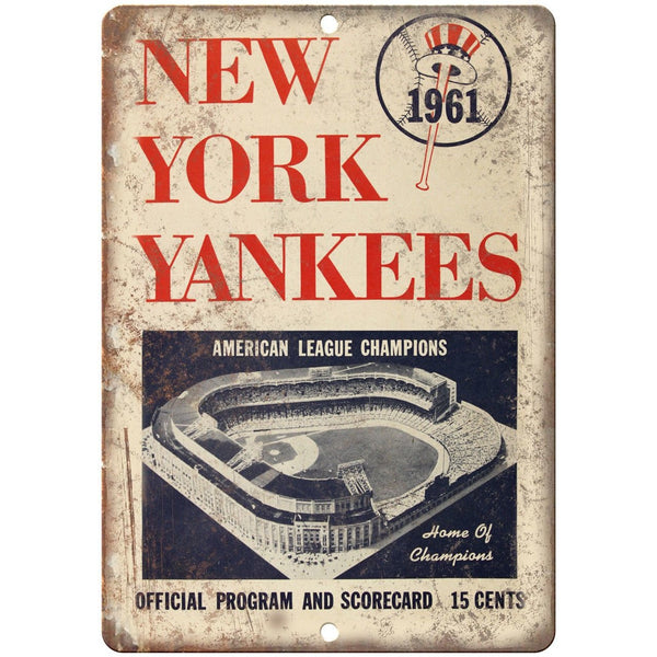 "1961 New York Yankees Scorecard Program 10"" x 7"" Reproduction Metal Sign X09"