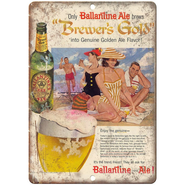 "Ballantine Ale Brewer's Gold Vintage Ad 10"" x 7"" Reproduction Metal Sign E283"