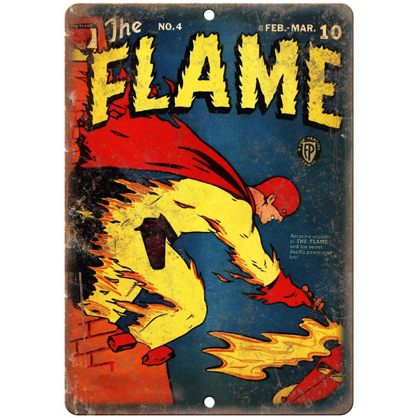 "The Flame Comic No 4 Vintage Book Cover 10"" x 7"" Reproduction Metal Sign J734"