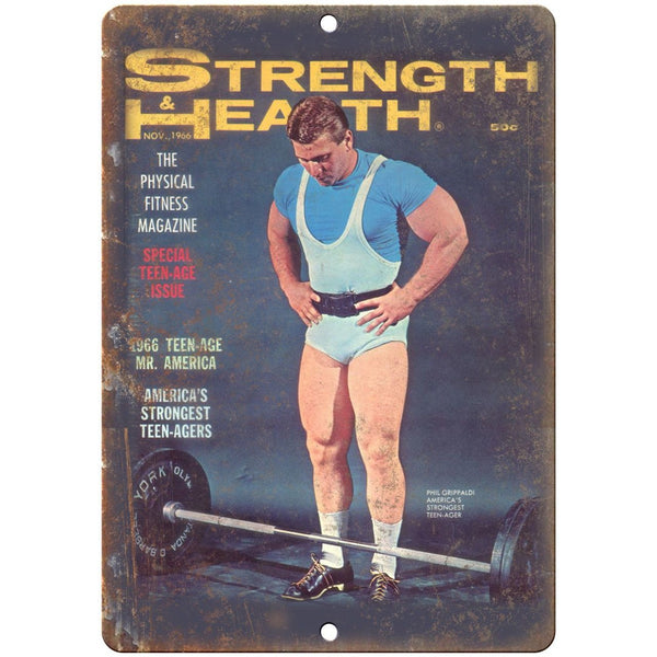 "1966 Strength & Health Vintage Powerlifting 10"" X 7"" Reproduction Metal Sign W19"