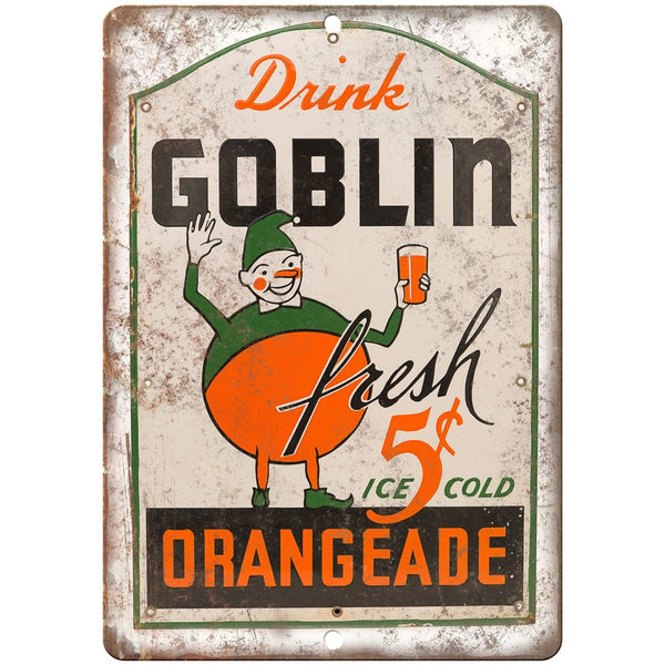 Goblin Orangeade Porcelain Look Reproduction Metal Sign U146