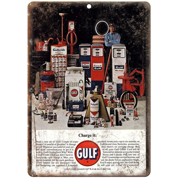 "Gulf Motor Oil Credit Card Gas Station Ad 10"" x 7"" Reproduction Metal Sign A17"