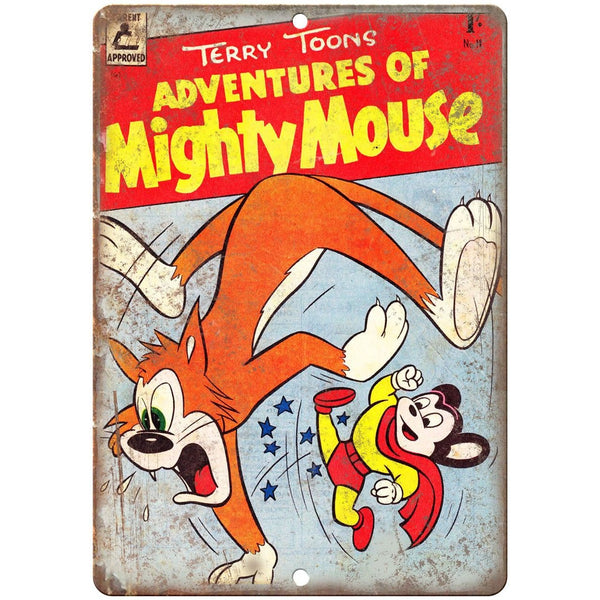 "Terry Toons Adventures of Mighty Mouse 10"" X 7"" Reproduction Metal Sign J239"
