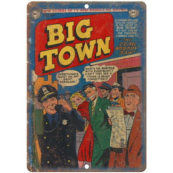 "Big Town No 16 Comic Book Cover Vitage Art 10"" x 7"" Reproduction Metal Sign J708"