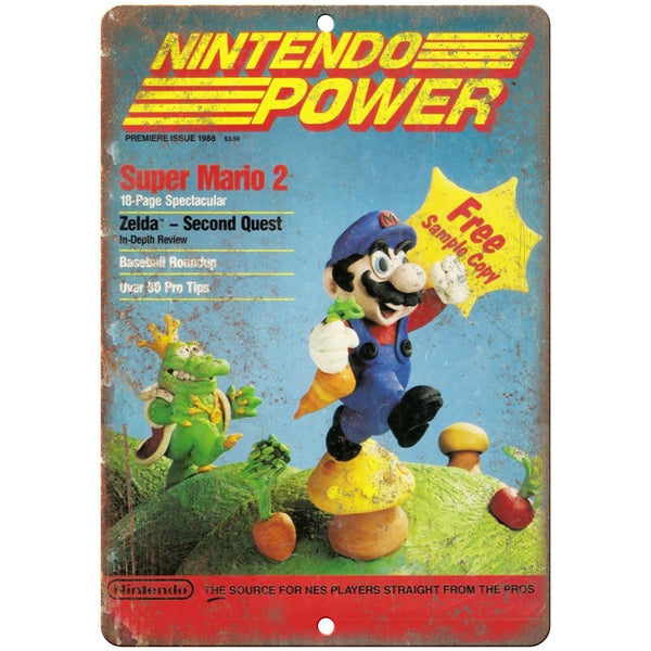 "1988 Nintendo Power Super Mario 2 Gaming 10"" x 7"" Reproduction Metal Sign G276"
