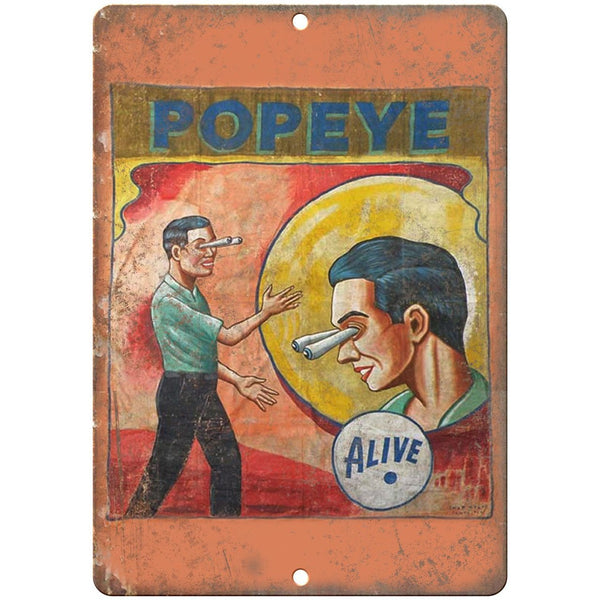 "Alive Circus Carnival Popeye Poster 10"" X 7"" Reproduction Metal Sign ZH110"