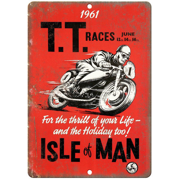 "1961 TT Races Isle of Man Motorcycle 10"" X 7"" Reproduction Metal Sign A614"