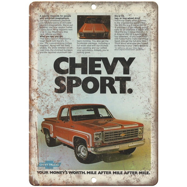 "Chevy Sports Truck Advertisment Retro Look 10"" x 7"" Reproduction Metal Sign"