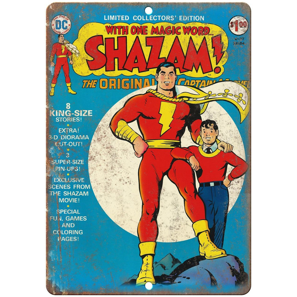 "Shazam Vintage Comic Cover Art 10"" X 7"" Reproduction Metal Sign J295"