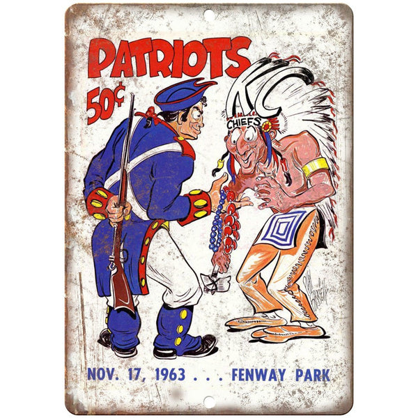 "1963 New England Patriots Vs Cheifs Football 10""x7"" Reproduction Metal Sign X33"