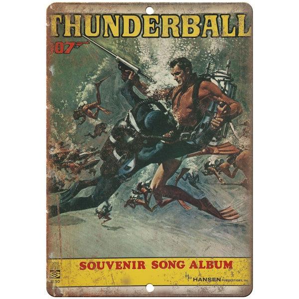 "James Bond, 007, Thunderball, Album Cover RARE, 10"" x 7"" retro metal sign"