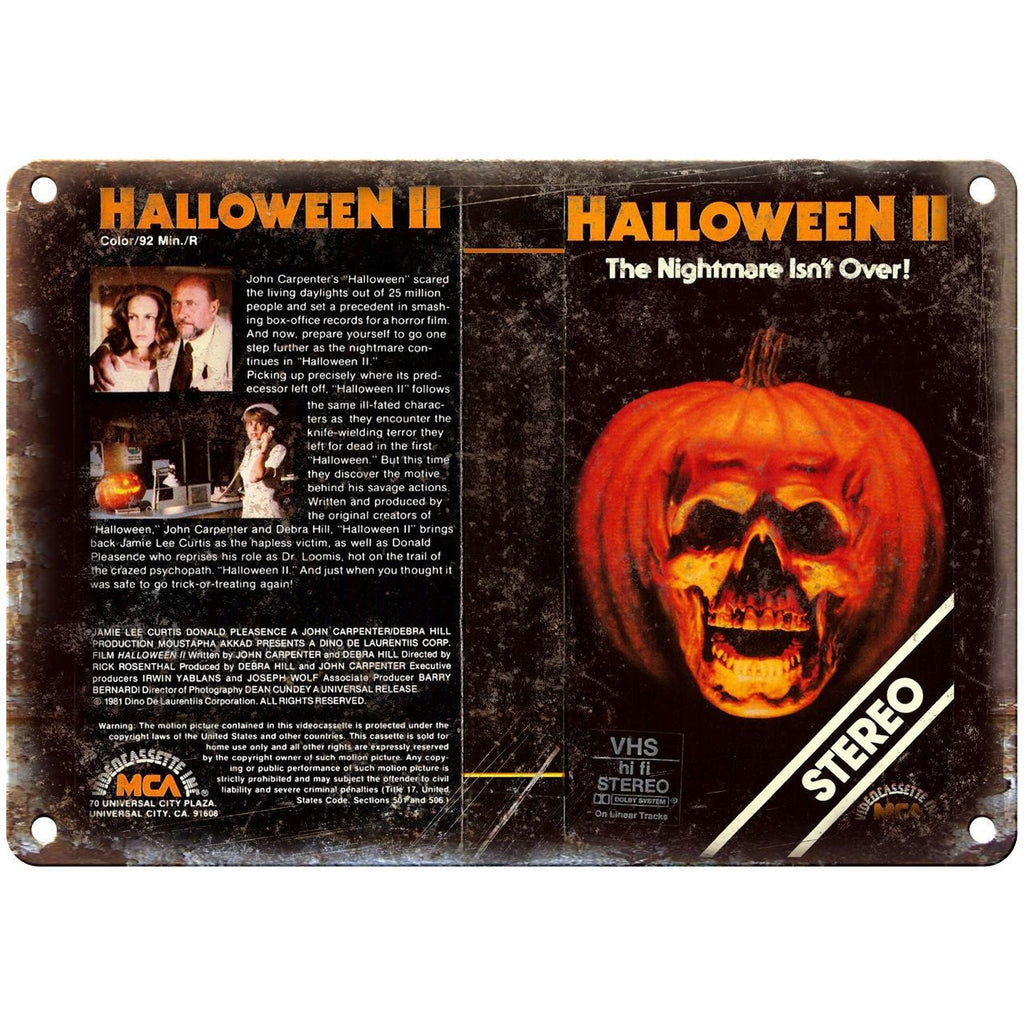 "Halloween II John Carpenter Movie VHS Cover 10"" x 7"" Vintage Look Reproduction"