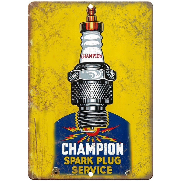 "Porcelain Look Champion Spark Plug Service 10"" x 7"" Reproduction Metal Sign"