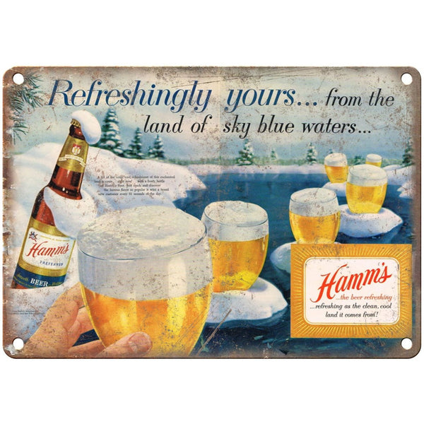 "10"" x 7"" Metal Sign - Hamm's Beer Winter Scene - Vintage Look Reproduction"