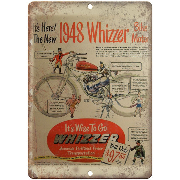 "1948 Whizzer Bike Motor Vintage Motorcycle Ad 10""x7"" Reproduction Metal Sign F07"