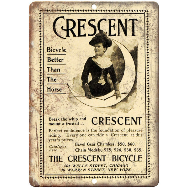 "The Crescent Bicycle Vintage Art Ad 10"" x 7"" Reproduction Metal Sign B433"