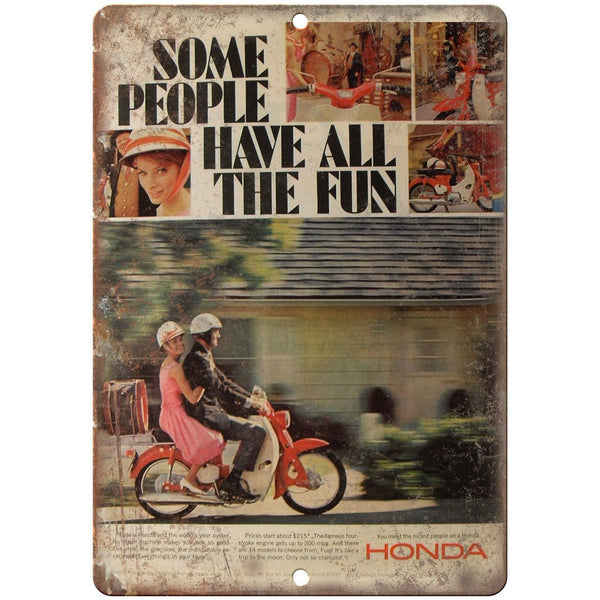 "Honda Scooter Motorcycle Vintage Print Ad 10"" x 7"" Reproduction Metal Sign F61"