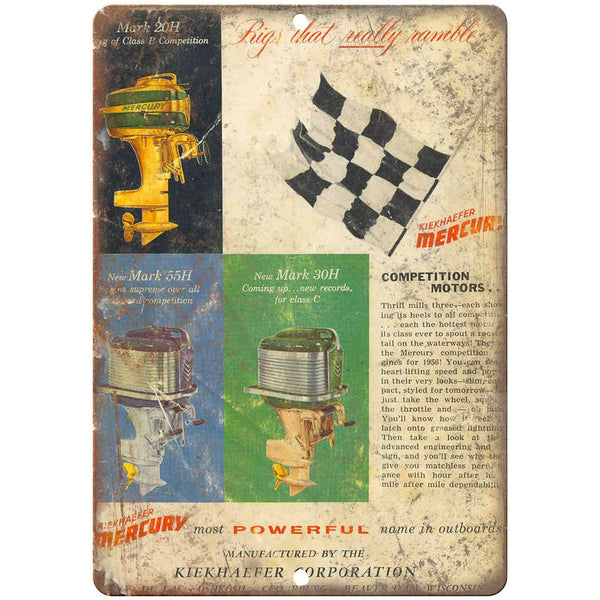 "Mercury outboards Rigs that Ramble vintage ad 10"" x 7"" reproduction metal sign"
