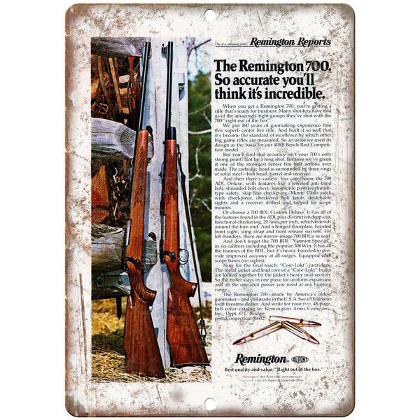 "Remington 700 Sporting Rifle Vintage Ad 10"" x 7"" Reproduction Metal Sign"
