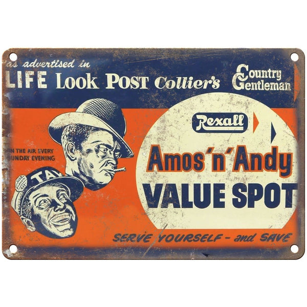 "Porcelain Look Amos n Andy Post Colliers 10"" x 7"" Reproduction Metal Sign"
