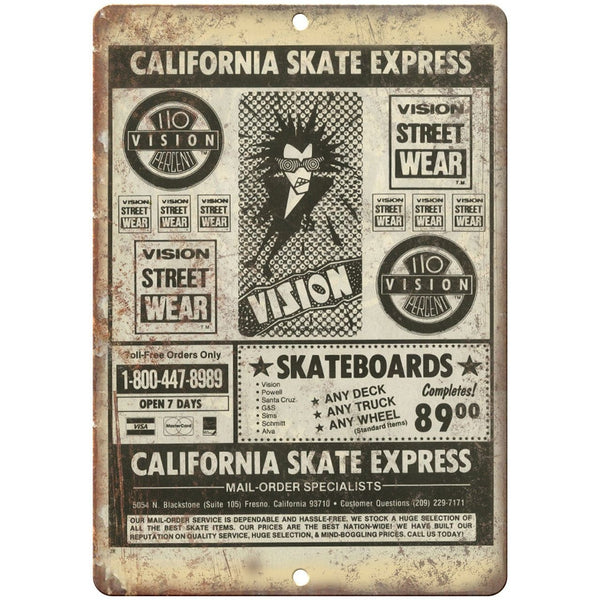 "California Skate Express Mail Order Skateboard 10"" x 7"" Reproduction Metal Sign"