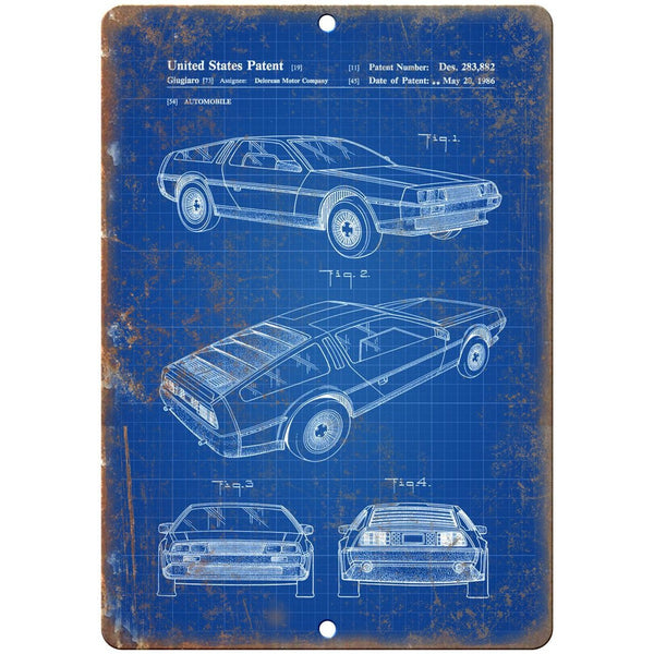 "AMC DeLorean United States Patent 1986 Blue - 10"" x 7"" Retro Look Metal Sign"