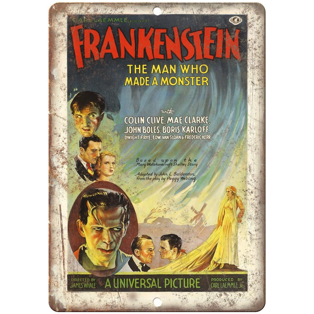"Frankenstein Colin Clive Mae Clarke Poster 10"" x 7"" Reproduction Metal Sign"