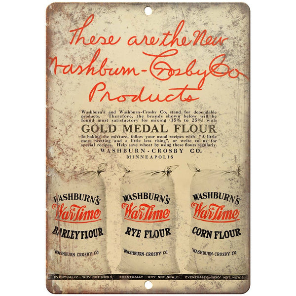 "Washburn's Wartime Corn Flour Ad 10"" X 7"" Reproduction Metal Sign N315"