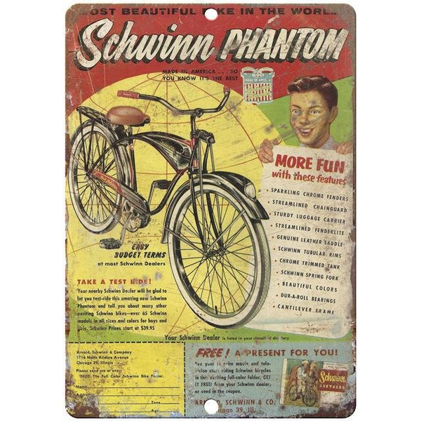 "1951 Schwinn Phantom vintage advertising 10"" x 7"" reproduction metal sign"