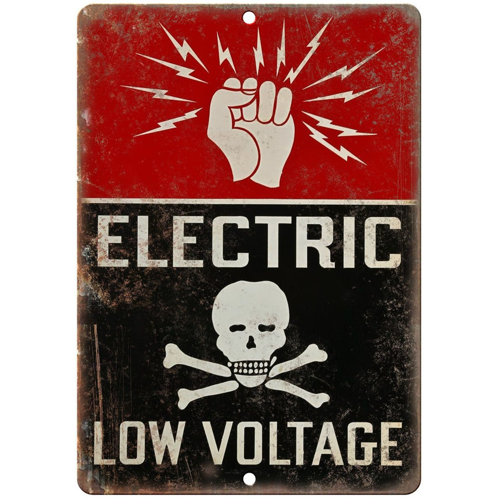 "Porcelain Look Electric Low Voltage 10"" x 7"" Reproduction Metal Sign"