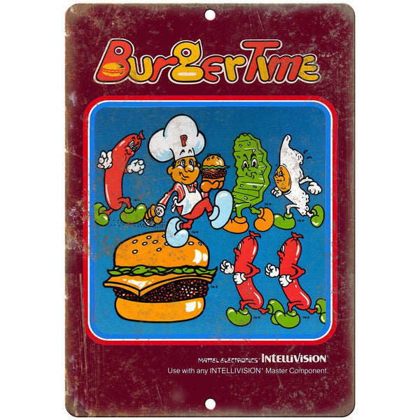 "Intellivision Burger Time Video Game 10"" x 7"" Reproduction Metal Sign G105"