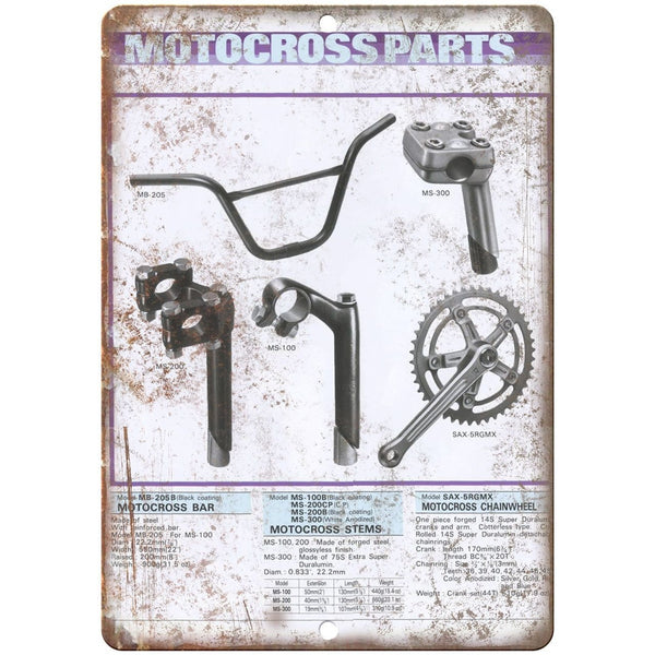 "BMX Motocross Parts- 10"" x 7"" Metal Sign Vintage Look Reproduction"