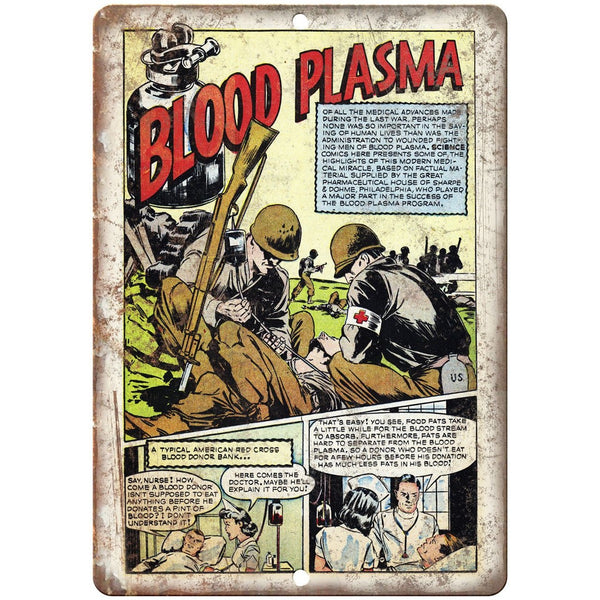 "Blood Plasma Vintage Comic Strip 10"" X 7"" Reproduction Metal Sign J499"