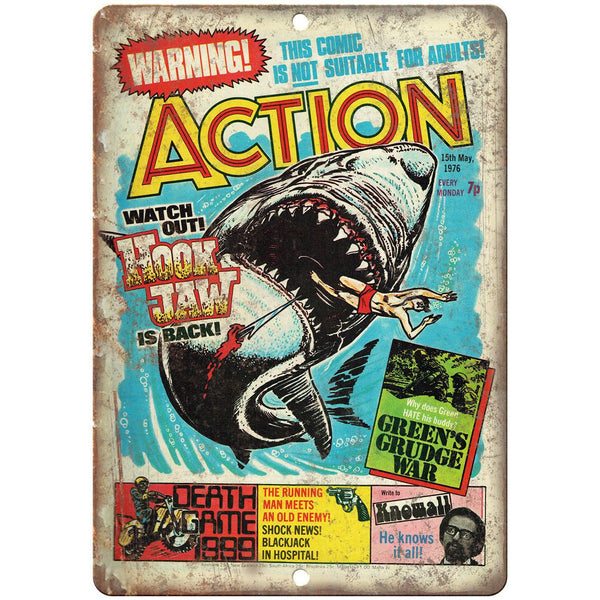 "Action Comic Book Cover Vintage Art 10"" x 7"" Reproduction Metal Sign J648"