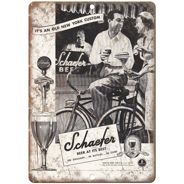 "Schaefer Vintage Beer Bicycle Ad 10"" x 7"" Reproduction Metal Sign E311"