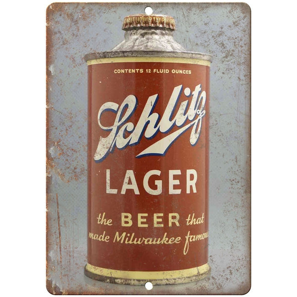 "Schlitz Lager Vintage Beer Can 10"" x 7"" Reproduction Metal Sign"