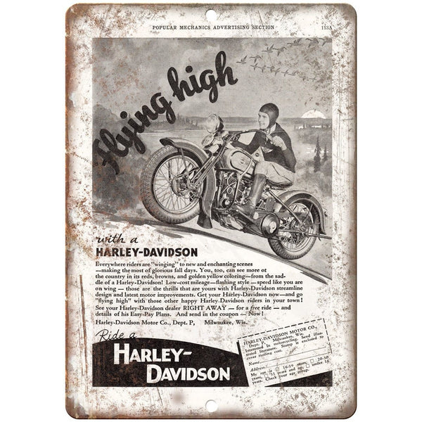 "Harley Davidson Motorcycle Popular Mechanics 10""X7"" Reproduction Metal Sign F26"