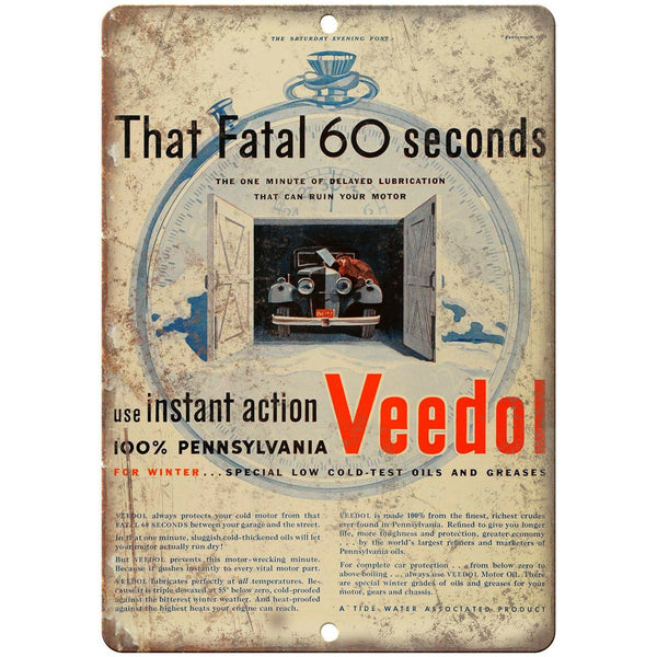 "Veedol Fatal 60 Seconds Motor Oil Ad 10"" X 7"" Reproduction Metal Sign A770"