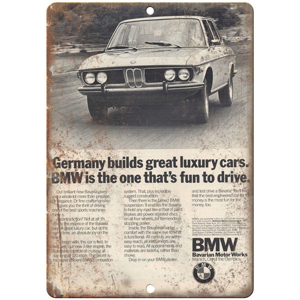 "BMW Bavarian Motor Works German Luxury Car 10"" x 7"" Reproduction Metal Sign A111"