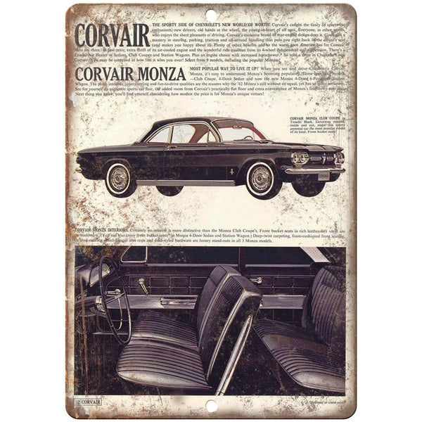 "1962 Chevy Corvair Monza 10"" x 7"" Reproduction Metal Sign"
