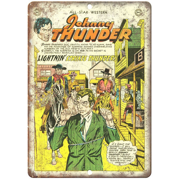 "Johnny Thunder Western Comic Book Art 10"" X 7"" Reproduction Metal Sign J248"
