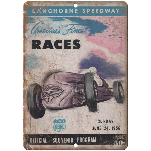 "1956 Langhorne Speedway Program Cover 10"" X 7"" Reproduction Metal Sign A542"
