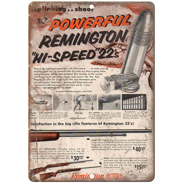 "Remington 22 rifle 10"" x 7"" reproduction metal sign"